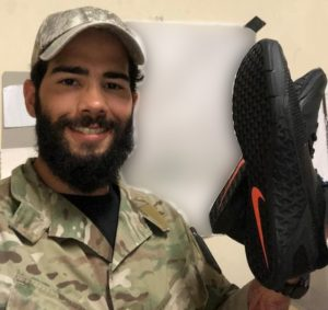 soldier with sneakers